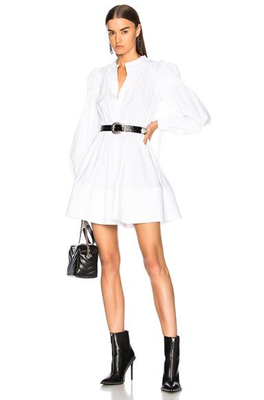 Alexander McQueen Popeline Gathered Sleeve Dress in White