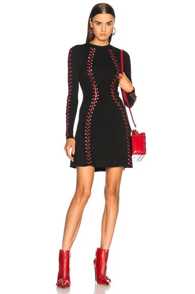 Alexander McQueen Silver Eyelet Engineered Rib Mini Dress in Black, Red