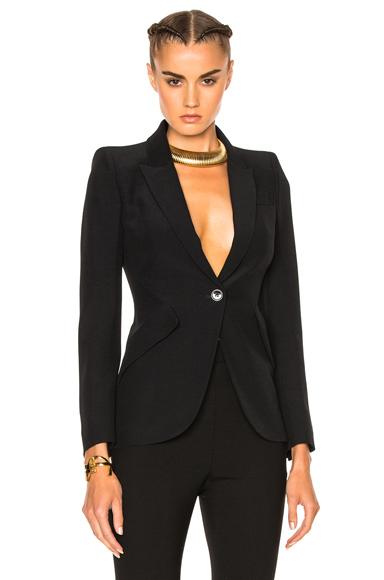 Alexander McQueen One Button Classic Blazer in Black
