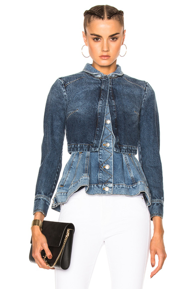 Alexander McQueen Peplum Denim Jacket in Blue
