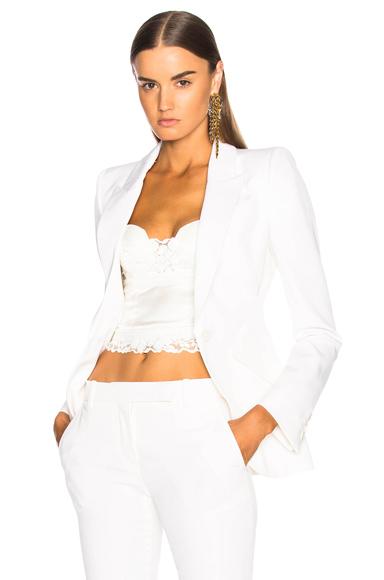 Alexander McQueen One Button Classic Blazer in White