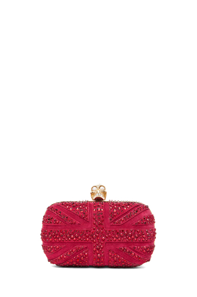 ALEXANDER MCQUEEN | Britannia Skull Box Clutch in Dark Cherry