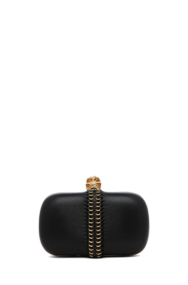 ALEXANDER MCQUEEN | Classic Leather Skull Box Clutch in Black