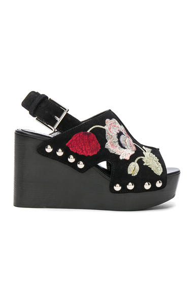 Alexander McQueen Suede Wedges in Black, Floral