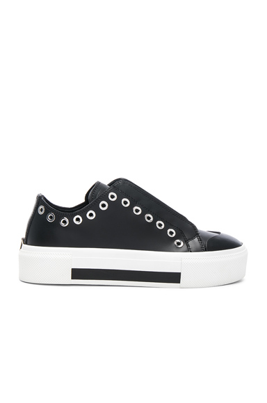 Alexander McQueen Eyelet Leather Platform Lace Up Sneakers in Black