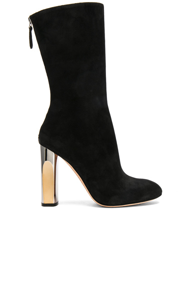 Photo of Alexander McQueen Cashmere Suede Tall Heeled Boots in Black online womens shoes sales