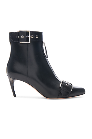 Alexander McQueen Ankle Strap Leather Booties in Black