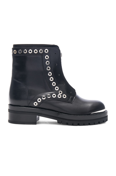 Alexander McQueen Eyelet Zip Up Leather Boots in Black