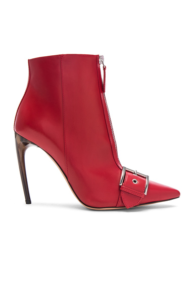 Alexander McQueen Zip Front Leather Booties in Red