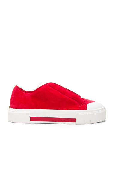 Alexander McQueen Velvet Platform Lace Up Sneakers in Red