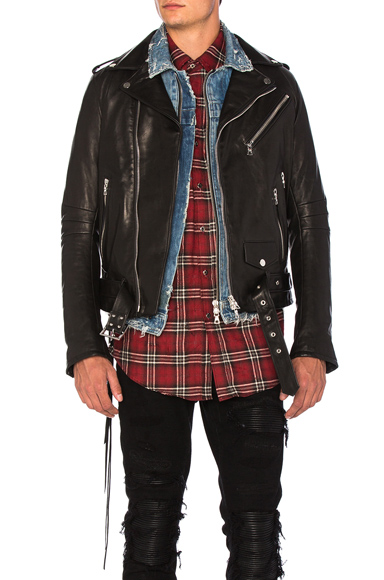 Amiri Vitellino Leather Jacket in Black. - size M (also in S)