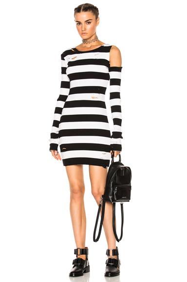 Amiri One Shoulder Long Sleeve Rib Dress in Black, Stripes, White