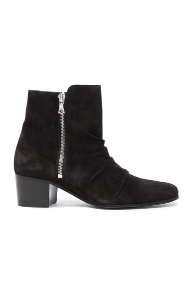 Amiri Suede Stack Boots in Black