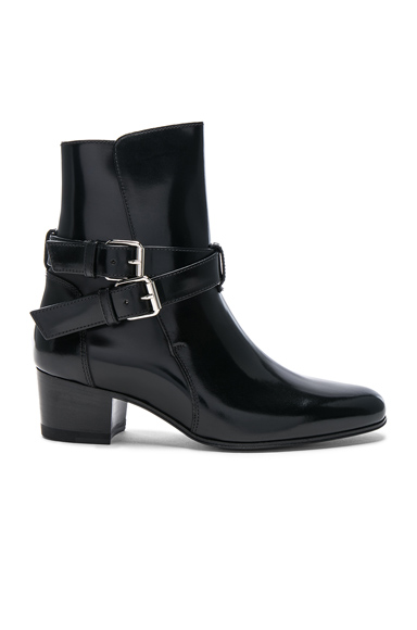 Amiri Buckle Leather Boots in Black