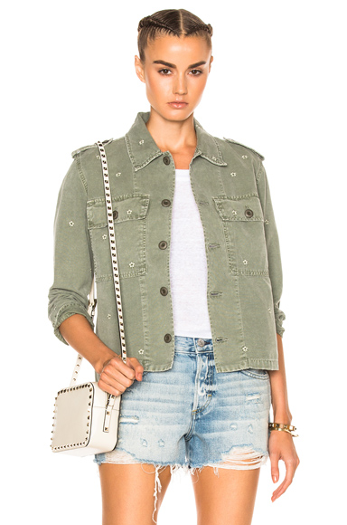 AMO Army Shirt Jacket in Floral, Green