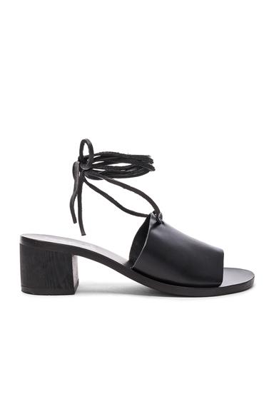 Ancient Greek Sandals Leather Christina Heels in Black