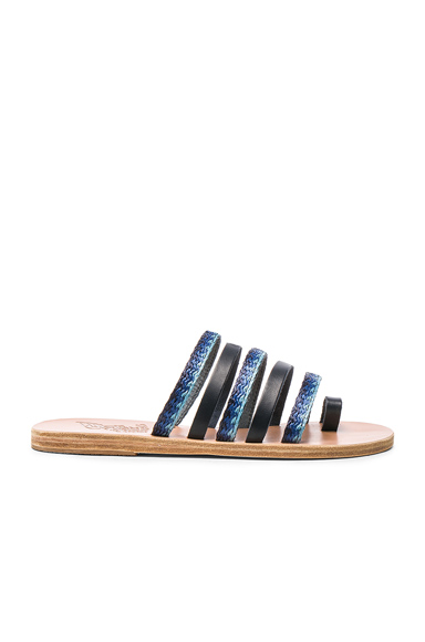 Ancient Greek Sandals Raffia Niki Sandals in Black, Blue