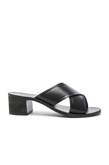 Ancient Greek Sandals Leather Thais Block Sandals in Black