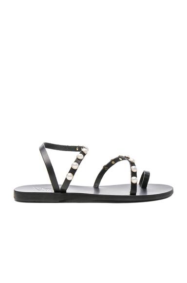 Ancient Greek Sandals Apli Leather Elefthera Pearls Sandals in Black