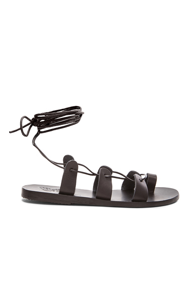 Ancient Greek Sandals Leather Alcyone Sandals in Black