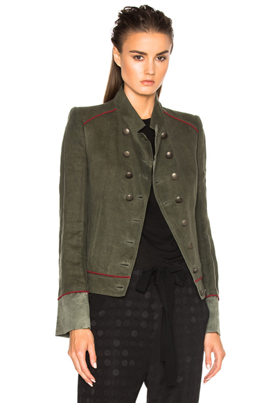 Ann Demeulemeester Military Jacket in Green