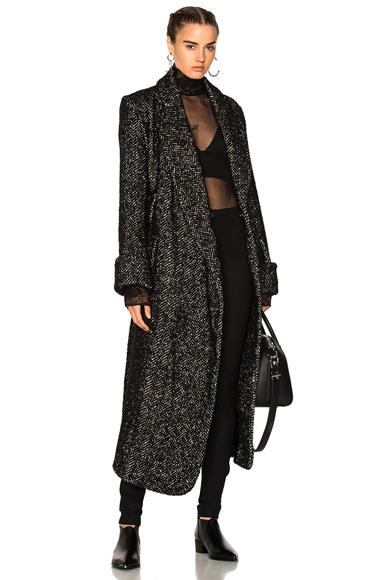 Photo of Ann Demeulemeester Belted Tweed Coat in Black online womens jacket sales