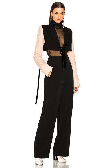 Ann Demeulemeester Lace Sleeve Cropped Jacket in Black, Pink