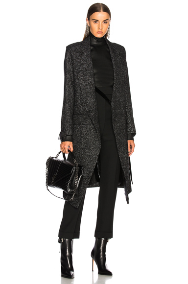 Ann Demeulemeester Metallic Coat in Black, Metallics