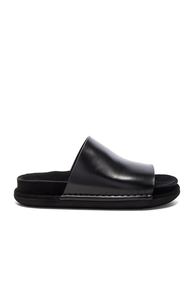 Ann Demeulemeester Leather Mule Sandals in Black
