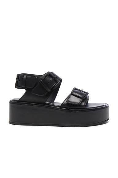 Ann Demeulemeester Leather Platform Sandals in Black