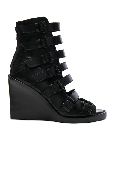 Ann Demeulemeester Leather Wedges in Black