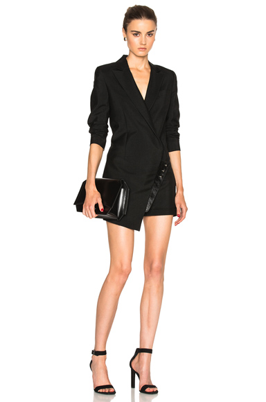 Anthony Vaccarello Suiting Combo Leather Jumpsuit in Black. - size 34 (also in )