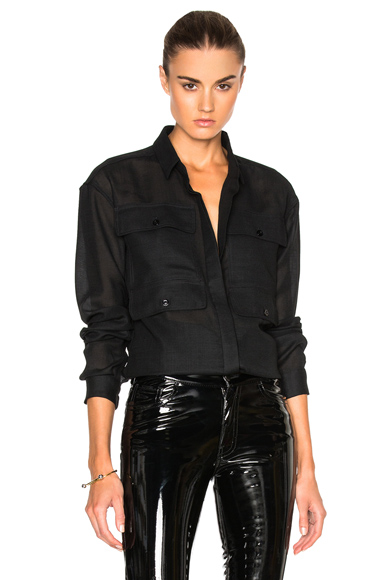 Anthony Vaccarello 4 Pocket Long Sleeve Shirt in Black. - size 36 (also in )