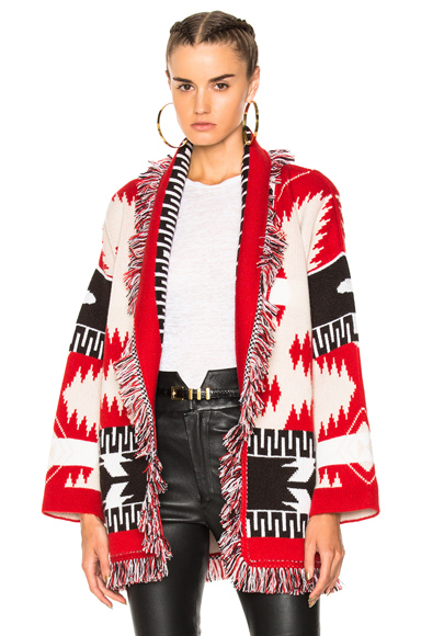 ALANUI Oversized Jacquard Cashmere Cardigan in Abstract, Neutrals, Red. - size M (also in )