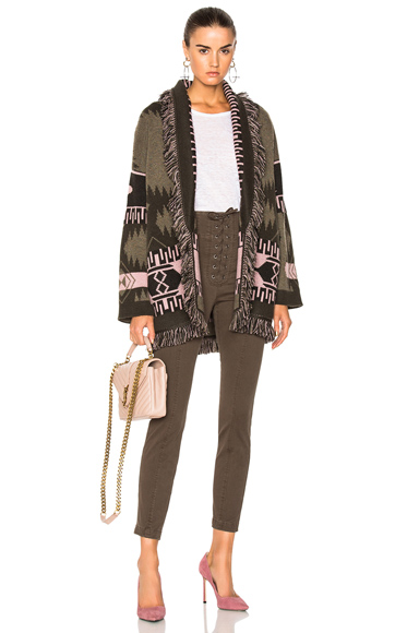 ALANUI Oversized Jacquard Cashmere Cardigan in Abstract, Green, Pink. - size M (also in S,XS)