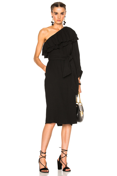 APIECE APART Rock Rose Bare Shoulder Dress in Black