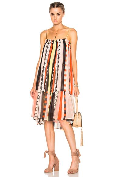APIECE APART Dafni Sweep Dress in Abstract, Geometric Print, Orange, Yellow
