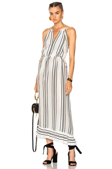 APIECE APART Himalaya Wide Sweep Tank Dress in Stripes, White