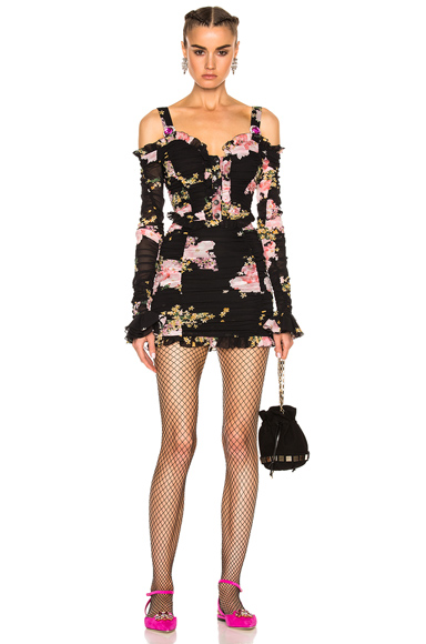 Alessandra Rich Floral Mini Dress in Black, Floral, Pink. - size 40 (also in )