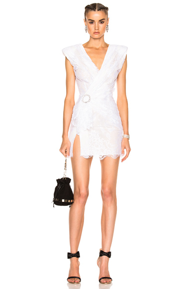 Alessandra Rich Lace Mini Dress in White. - size 36 (also in 38,40)