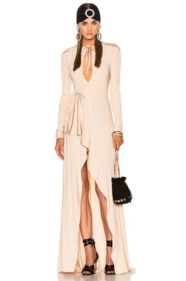 Alessandra Rich Jersey Asymmetrical Gown in Neutrals, Pink. - size 36 (also in 38,40)