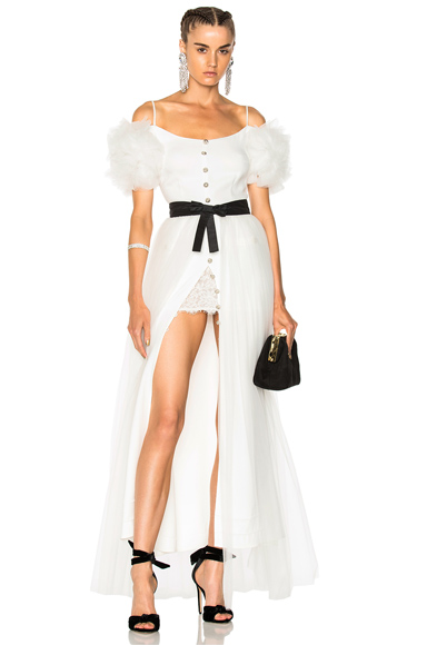 Alessandra Rich Cold Shoulder Tulle Gown in White