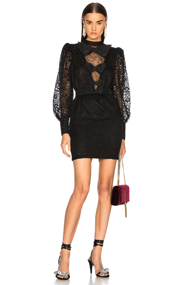 Alessandra Rich Bow Detail Mini Dress in Black