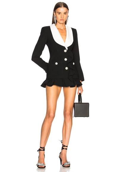 Alessandra Rich Contrast Lapel Blazer in Black