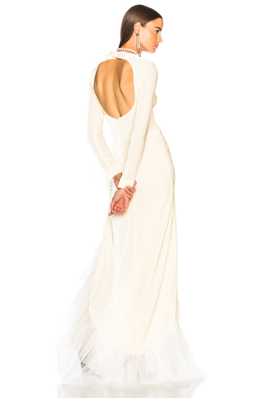 Alessandra Rich Asymmetric Hem Ruffle Gown in White