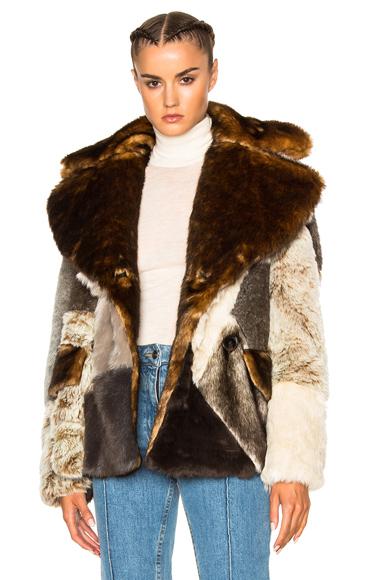 Alessandra Rich Patchwork Faux Fur Jacket in Brown, Neutrals. - size 40 (also in )