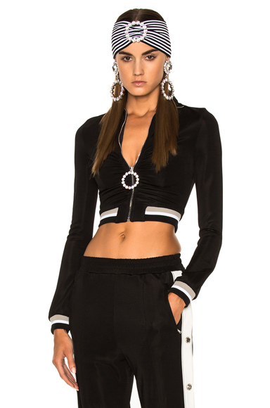 Alessandra Rich High Neck Tracksuit Jacket in Black