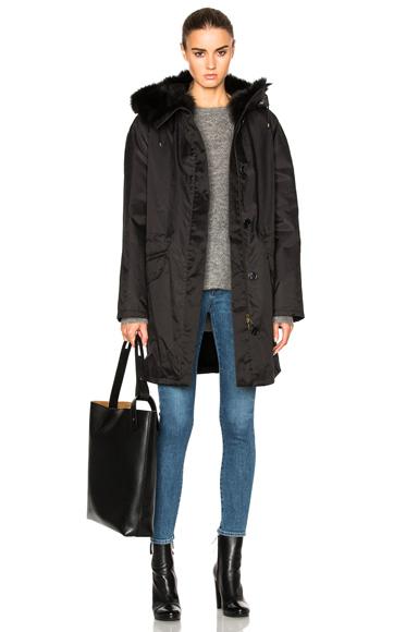 Army by Yves Salomon Gabardine Fox Fur Parka Jacket in Black. - size 34 (0) (also in )