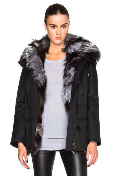 Yves Salomon – Army Short Gap Parka With Fox Fur in Black