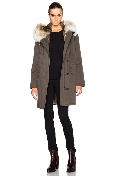 Yves Salomon – Army Classic Parka With Rabbit & Coyote Fur in Green